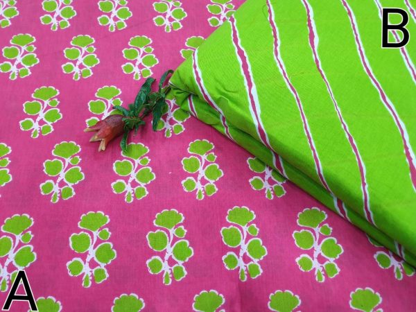 Chartreuse green and Rose Running material cotton dress material