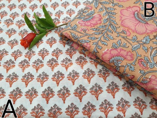 Apricot and White Running materiel cotton Rapid print