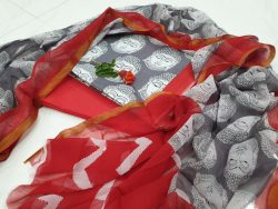 Daily wear Red and Gray Zari border suit dress material