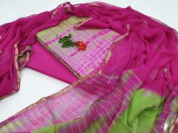 Daily wear Pink and Spring bud Zari border suit dress material