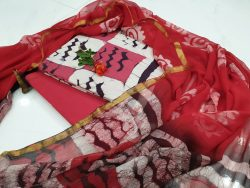 Summer wear Red and white Zari border suit dress material