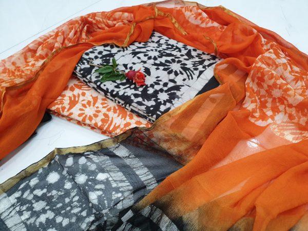 Regular wear Orange and Black Zari border suit dress material