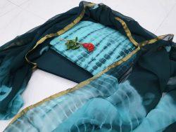 Zari border cotton suit shibori print color cyan partywear