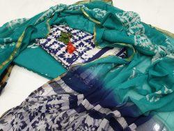 Regular wear Teal and Black Zari border suit dress material