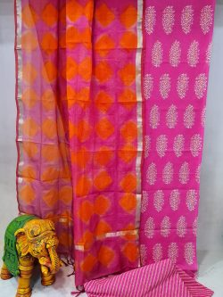 Magenta rose and Orange-red Cotton suit with kota silk dupatta