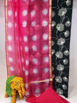 Daily wear Magenta rose and black Cotton suit with kota silk dupatta