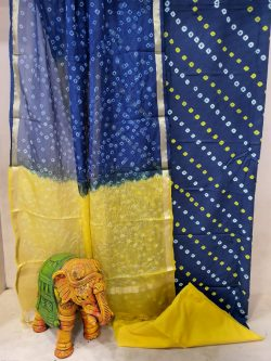 Daily wear Navy blue and yellow  Cotton suit with kota silk dupatta