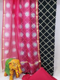 Summer wear Magenta rose and black Cotton suit with kota silk dupatta