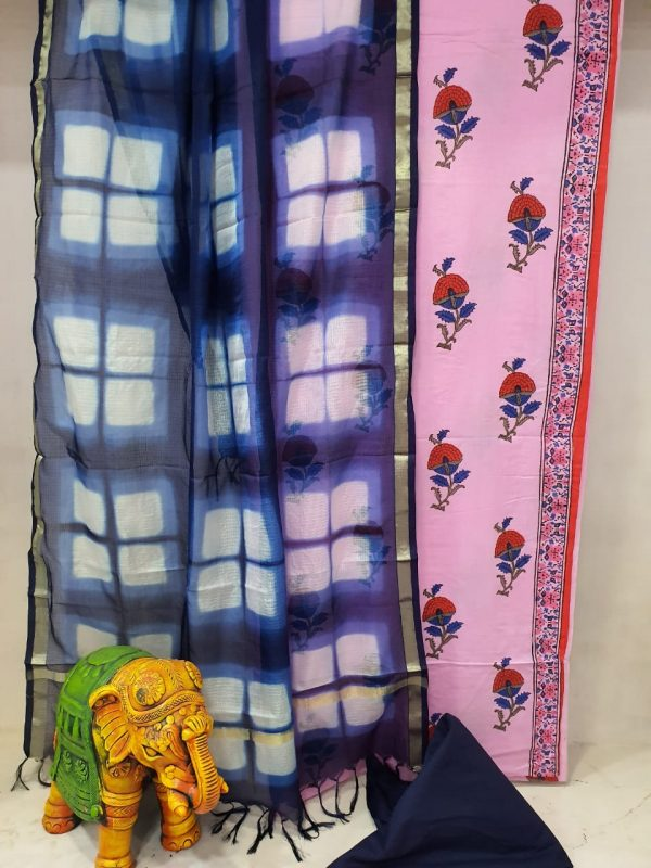 Pink and navy blue Cotton suit with kota silk dupatta