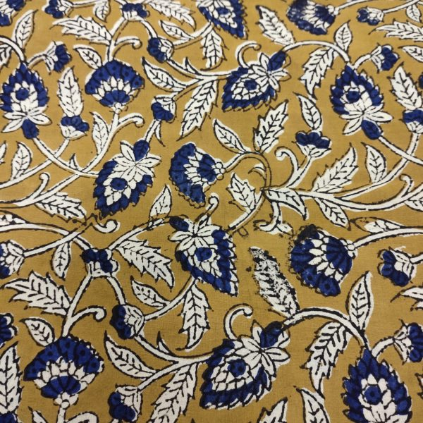 Copper Yellow and blue Running materiel cotton dress material