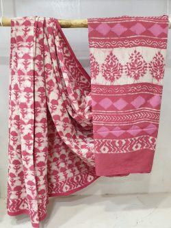 Pink and white cotton mulmul saree with blouse
