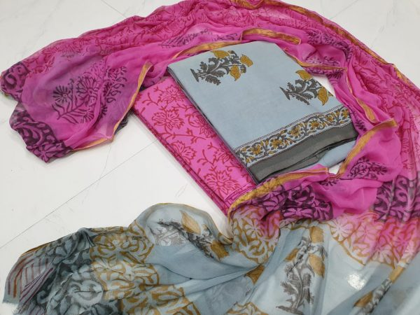Summer wear Magenta rose and Periwinkle zari border cotton suit