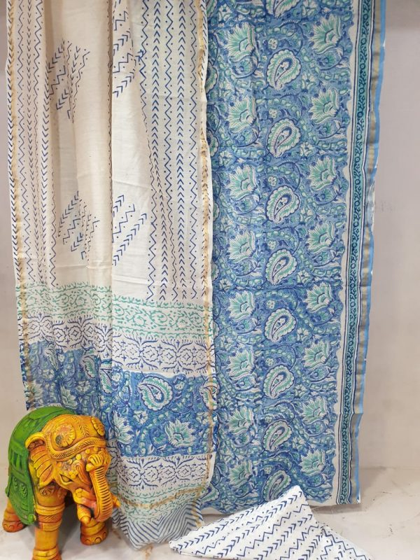 Partywear beautiful Azure and White chanderi suit set