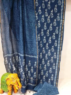 Partywear Traditional Prussian blue chanderi suit set