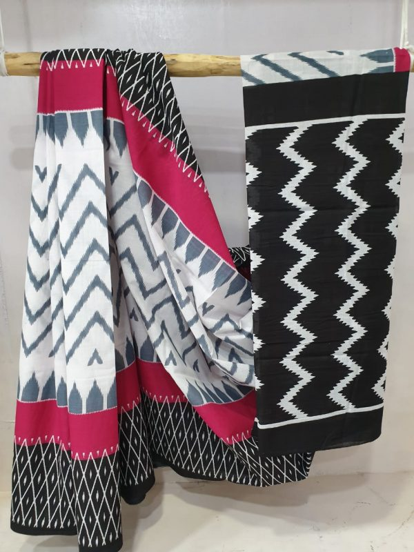 Cerise and black Superior quality Cotton saree with blouse
