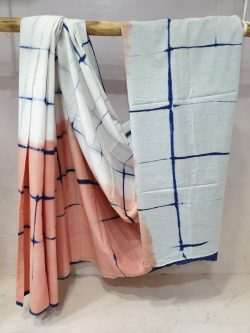 Regular wear Apricot and white cotton saree with blouse