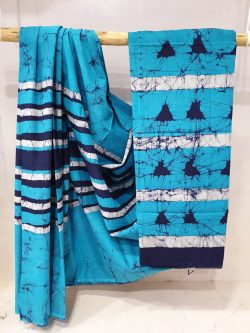 Regular wear French Cerulean and Gulf Blue Cotton saree