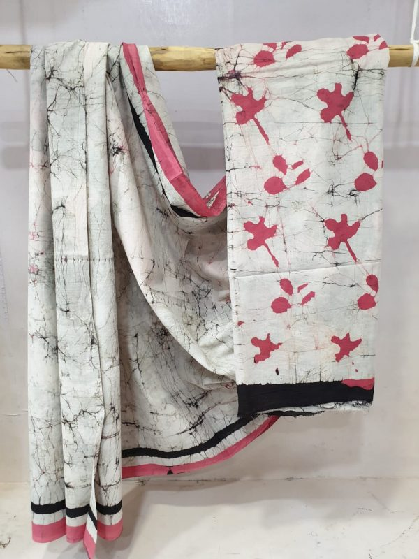 Regular wear Cerise and white cotton saree with blouse