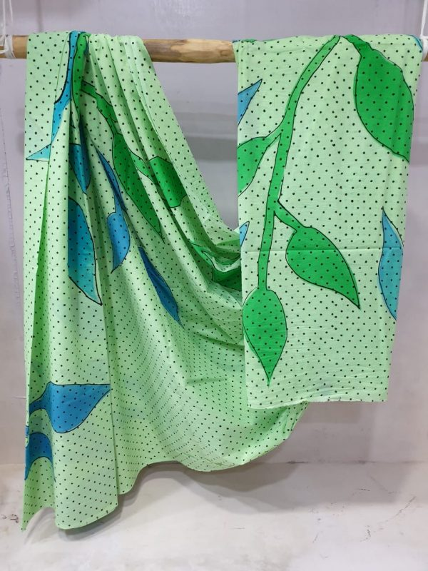 Lime Green and Mint Green Cotton saree with blouse for ladies
