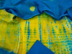 Daily wear Azure and Yellow Natural Cotton suit with kota silk dupatta
