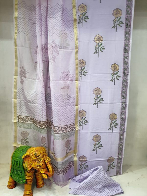 Daily wear Lavender Traditional Cotton suit with kota silk dupatta
