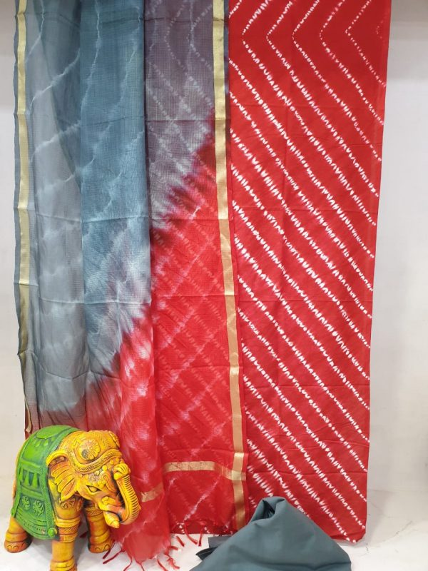 Partywear Red and slate gray  Cotton suit with kota silk dupatta