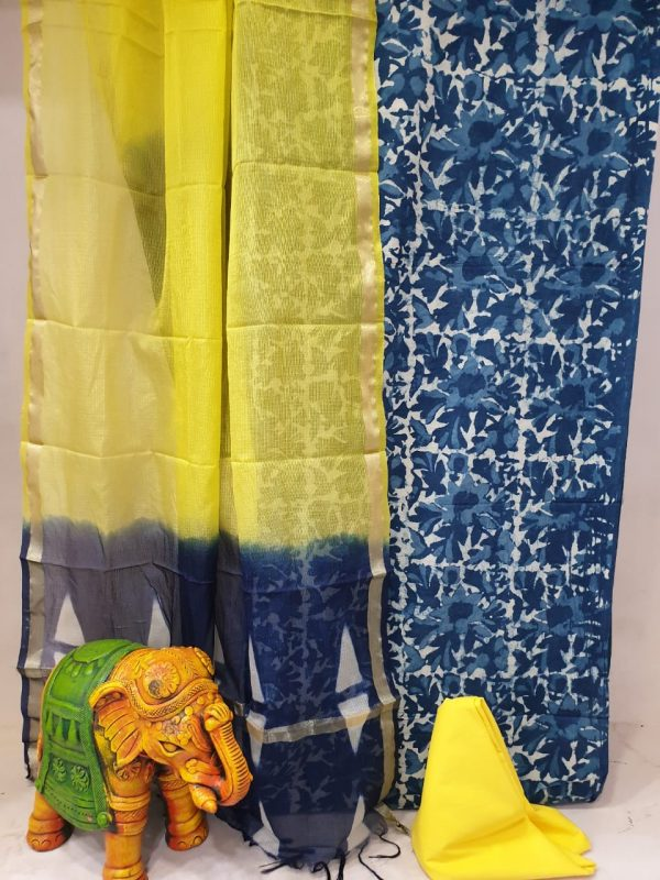 Prussian blue and yellow cotton suit with kota silk dupatta