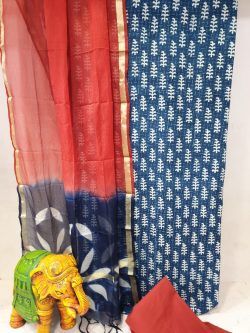 Red and Prussian blue Office wear cotton suit with kota silk dupatta