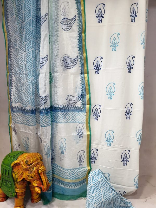 Baby Blue and white Office wear cotton suit with kota silk dupatta