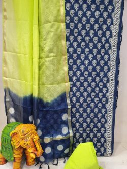 Prussian Blue and Lemon-Lime Office wear cotton suit with kota silk dupatta