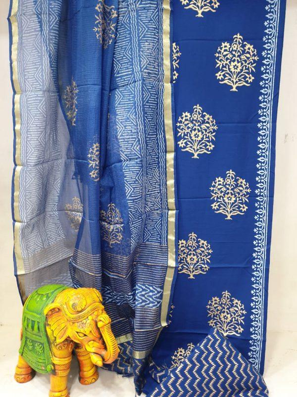 Partywear Persian Blue kota silk dupatta for ladies