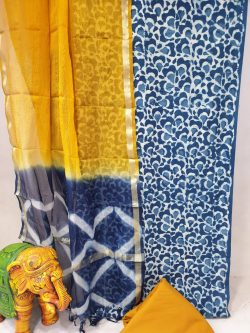 Amber and Prussian blue Office wear cotton suit with kota silk dupatta