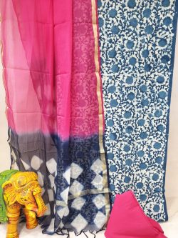 Cerise and Prussian blue Office wear cotton suit with kota silk dupatta