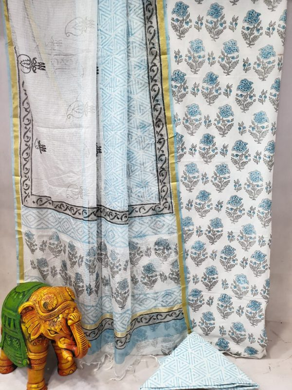 Partywear Baby blue and white Cotton suit with kota silk dupatta