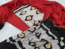 Daily Red and White Cotton salwar kameez set with mulmul dupatta