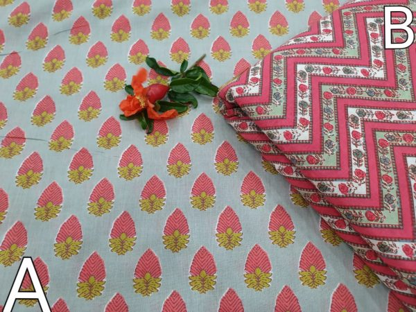 Blush and Silver Running material cotton Rapid print