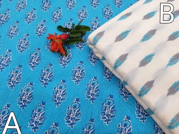 Azure and white Running material cotton Rapid print