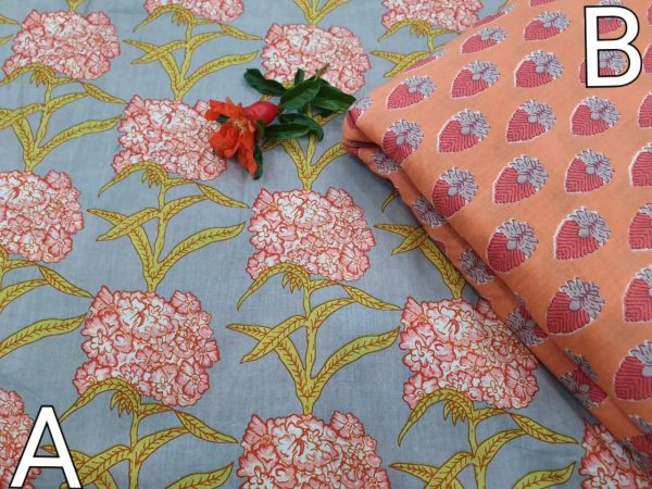 Coral and slate gray running Material fabric