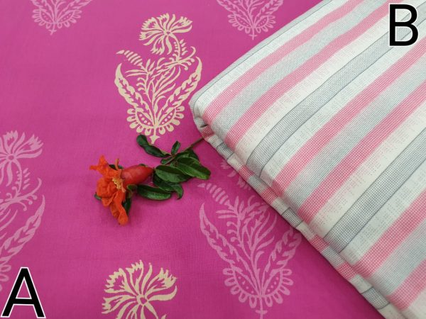 Magenta rose and white Running materiel cotton dress material