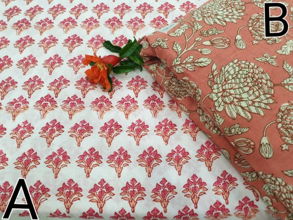 Coral Pink and white Running material cotton