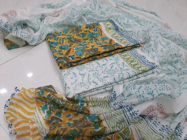 Deep lemon and white Cotton salwar suit with mulmul dupatta suit