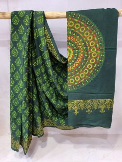 Viridian cotton mulmul saree with blouse for women