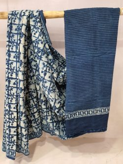 Blue and White cotton mulmul saree for women