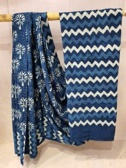 Persian blue cotton mulmul saree with blouse for women