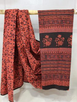 Seal Brown and salmon Cotton mulmul saree with blouse for women