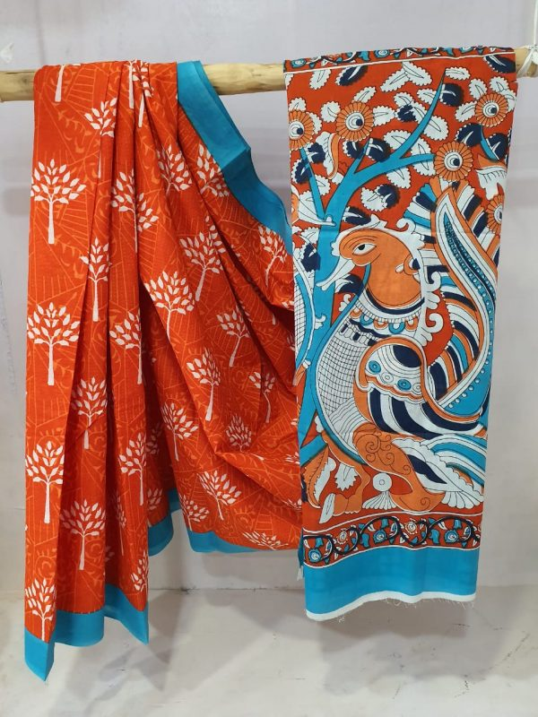 Regular wear Orange and azure Exclusive Cotton saree with blouse