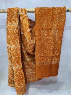 Partywear Brown Superior quality pure kota doria saree with blouse