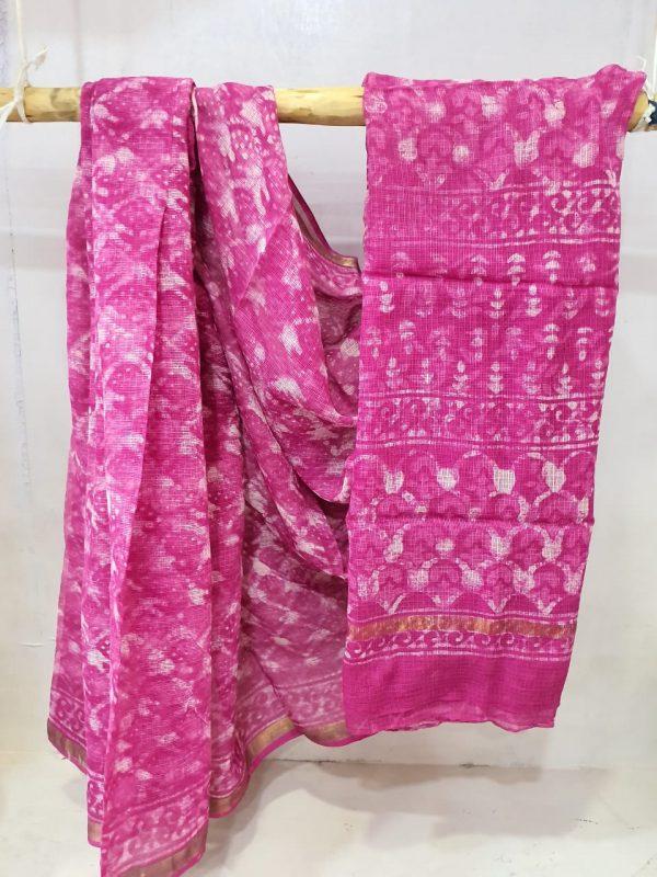 Office wear Cerise color pure kota doria saree with blouse