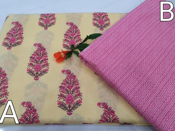 Peach and pink cotton dress material for Women