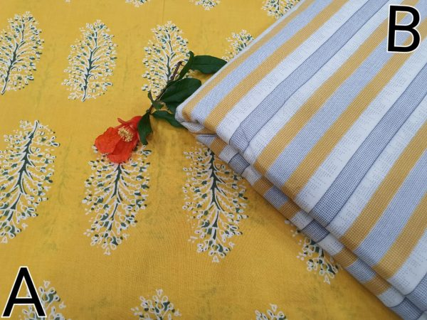Yellow and white Running material cotton